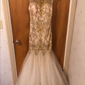 Cream prom dress w/ gold sequins